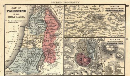 a three-part map that includes the map of Jerusalem, Vicinity of the ancient city of Jerusalem, and plan of the ancient city of Jerusalem