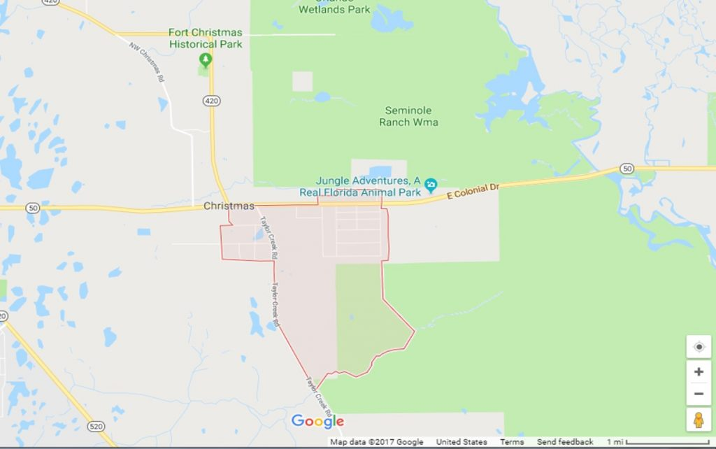 Google map of Christmas, Florida