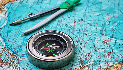 detailed map with compass on top