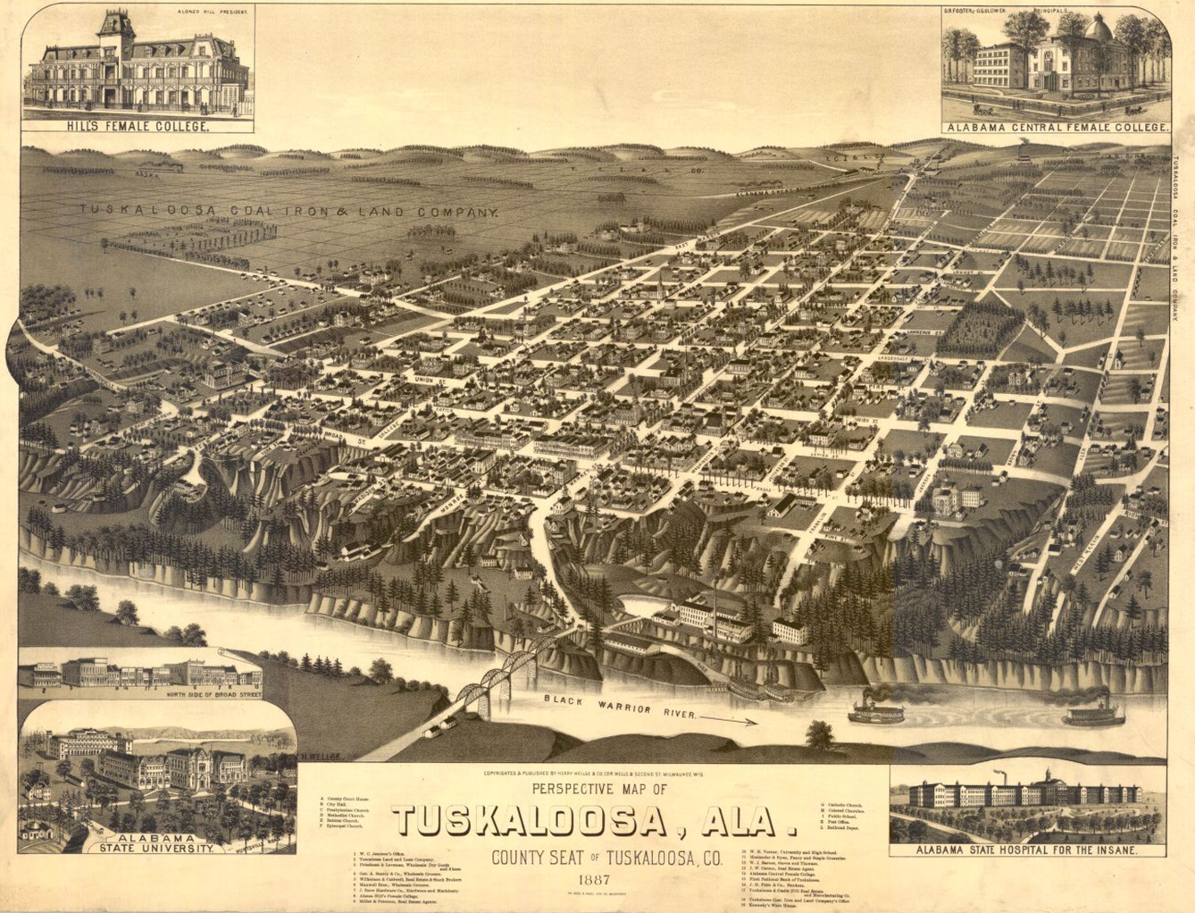 Historic map of Tuscaloosa