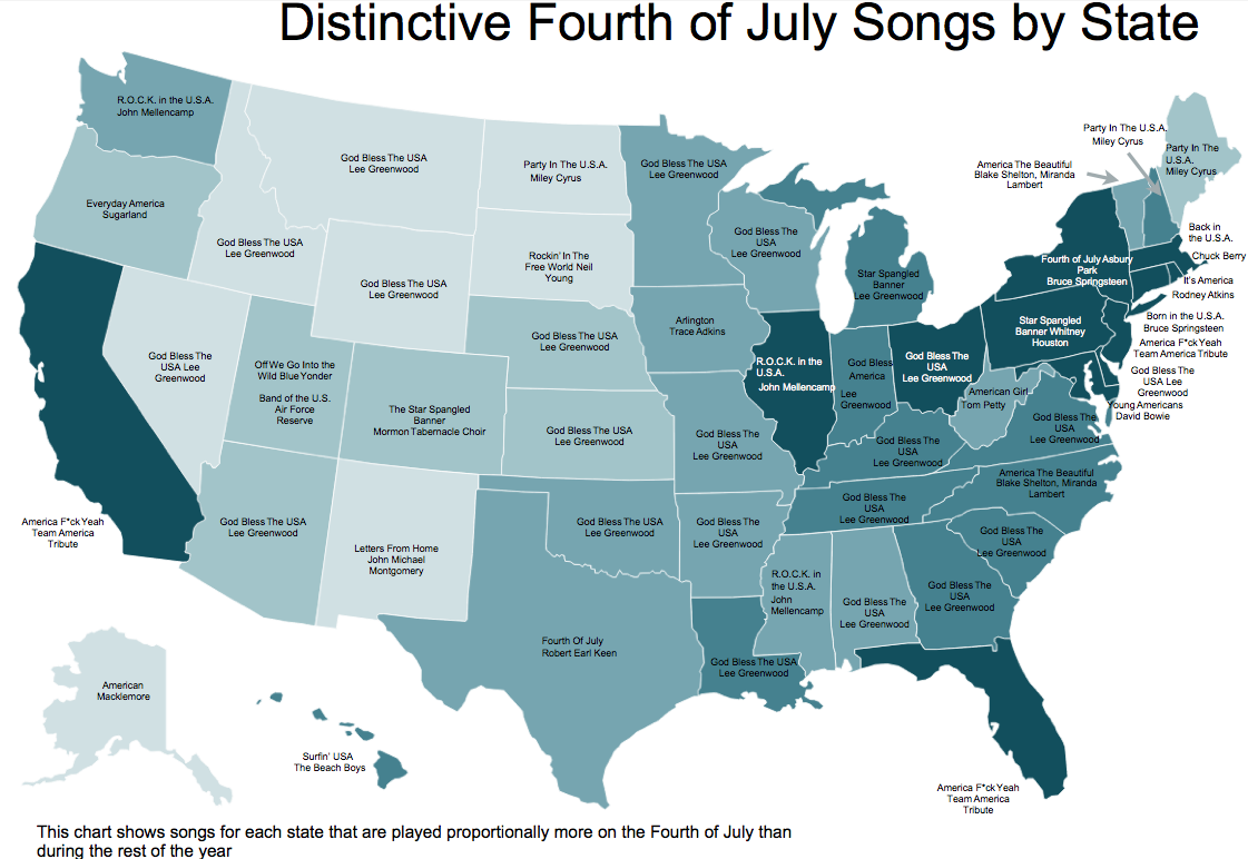 Map of Distinctive 4th of July songs by state