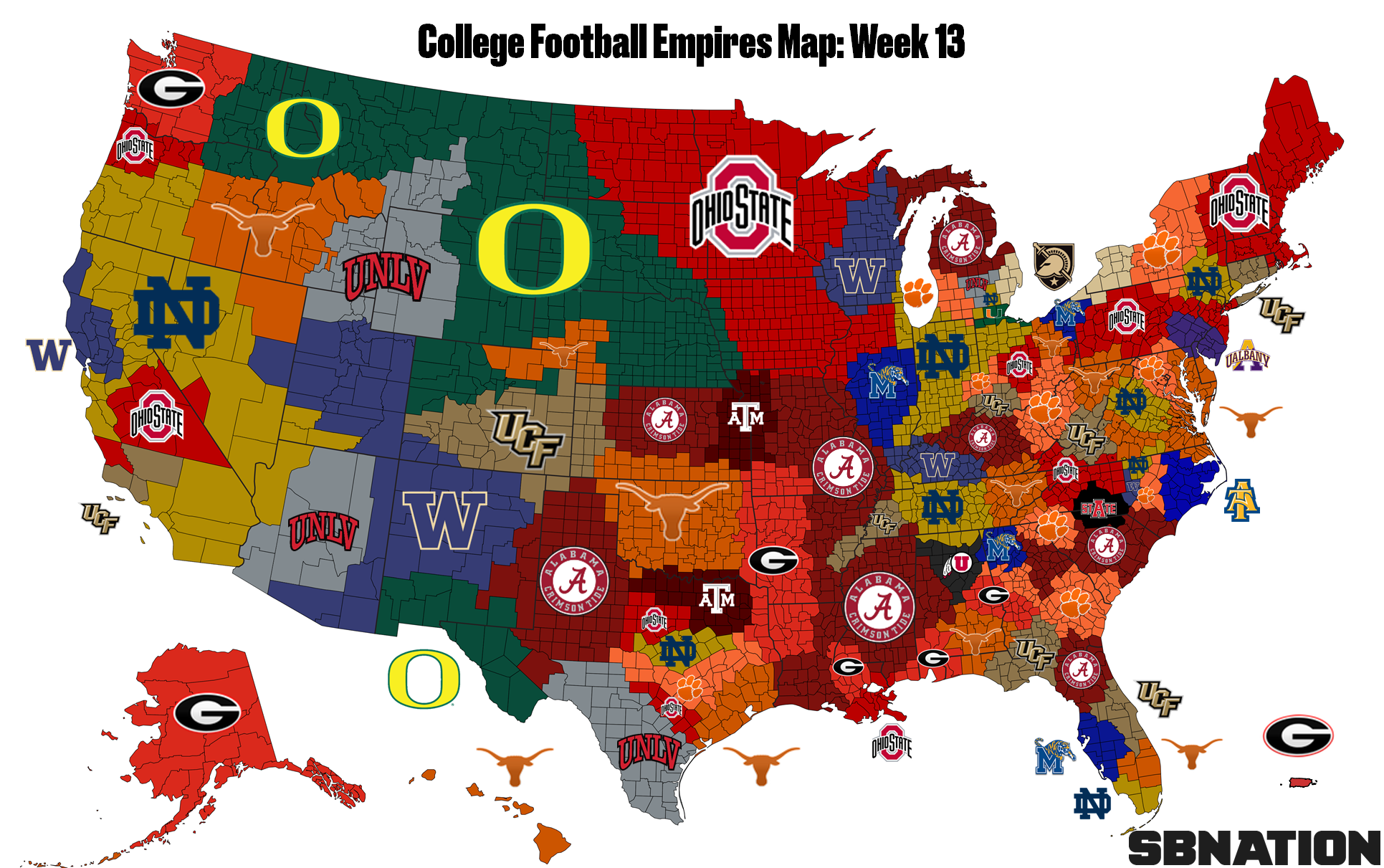Map of College football fans in the US