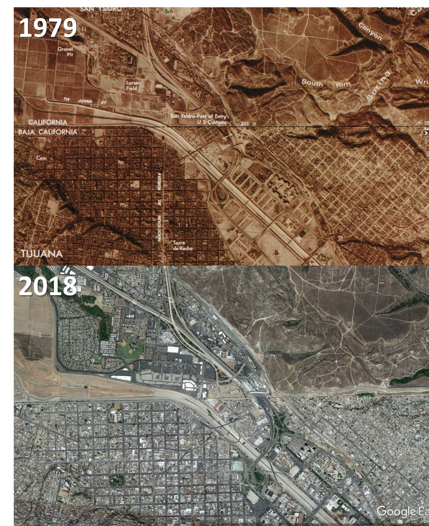 aerial maps of the US/Mexico border from 1979 and 2018